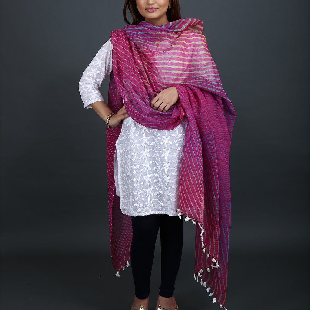 Magenta Coloured Jaipur Leheriya Dupatta in Kota Cotton