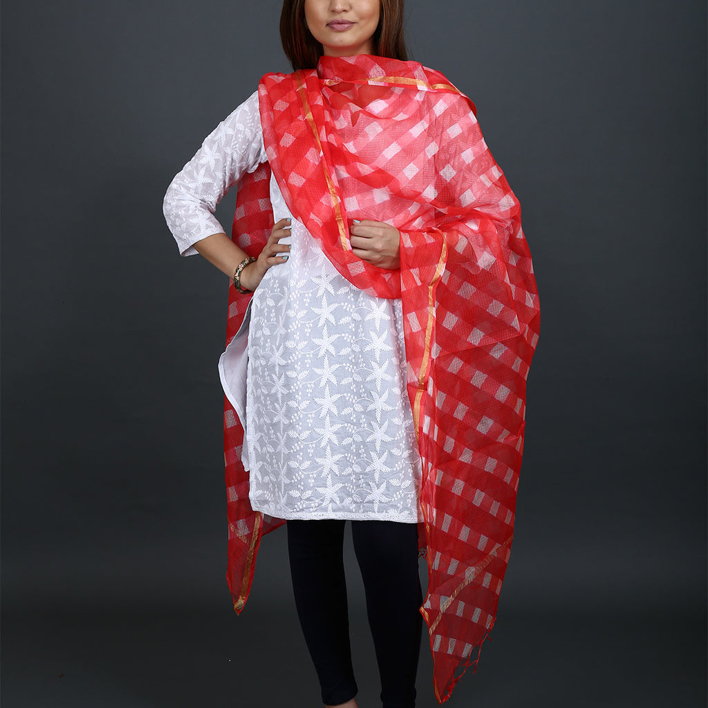 Red Coloured Jaipur Leheriya Dupatta in Kota Silk with Mothra design