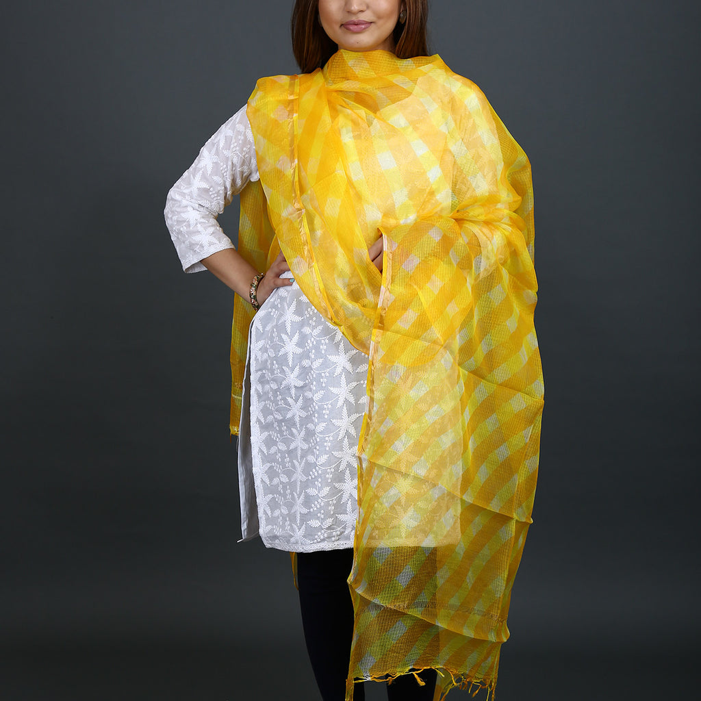 Yellow Coloured Jaipur Leheriya Dupatta in Kota Silk with Mothra design
