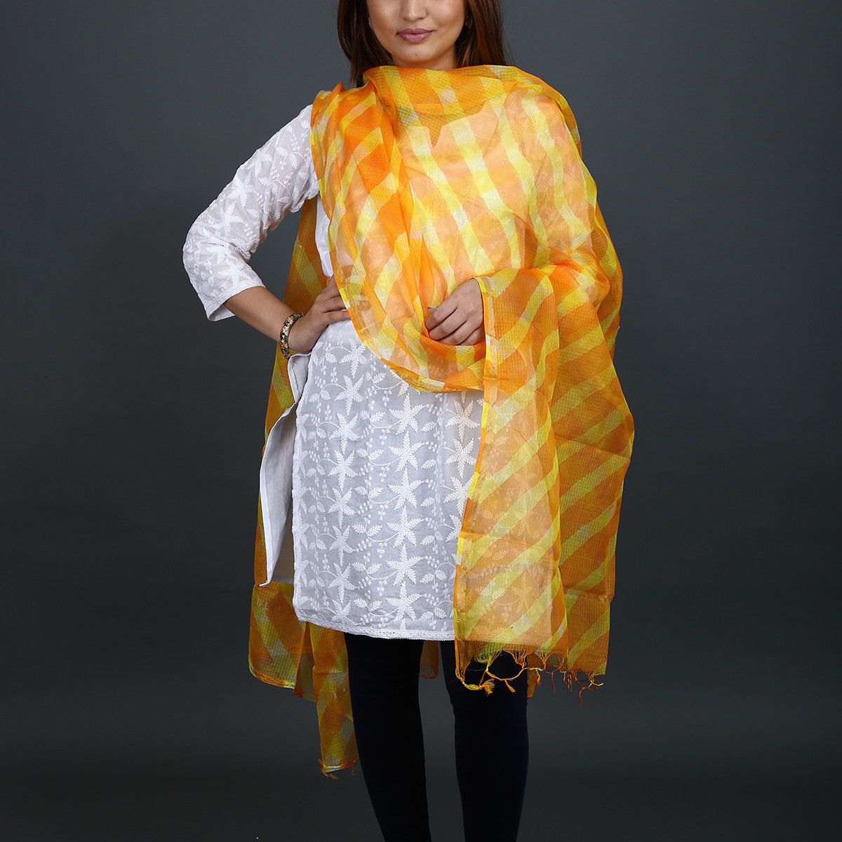 Orange with Yellow Coloured Jaipur Leheriya Dupatta in Kota Silk with Mothra design