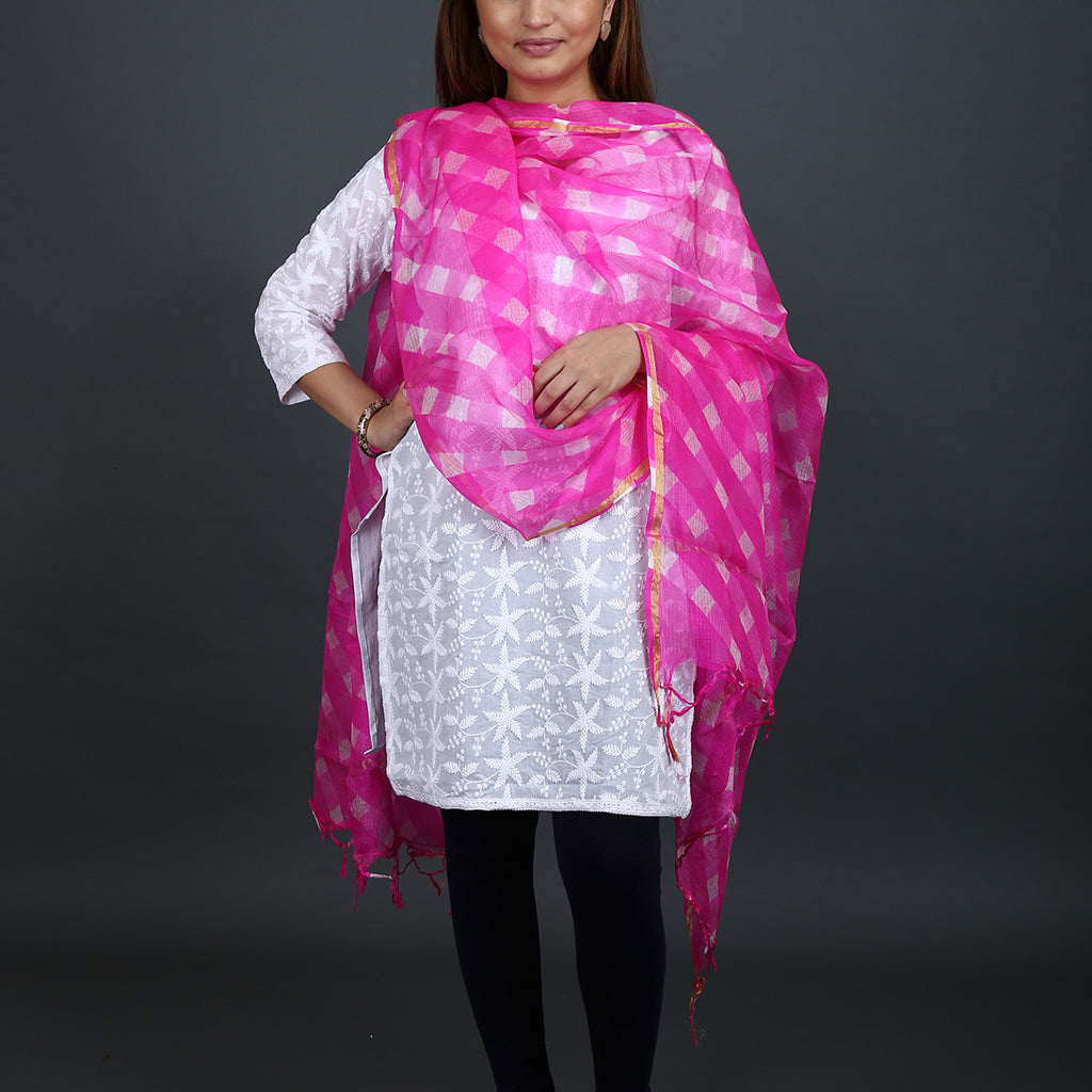 Violet Pink Coloured Jaipur Leheriya Dupatta in Kota Silk with Mothra design
