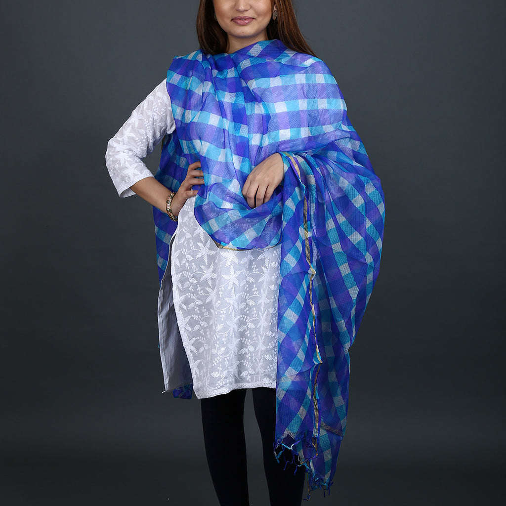 Blue Coloured Jaipur Leheriya Dupatta in Kota Silk with Mothra design