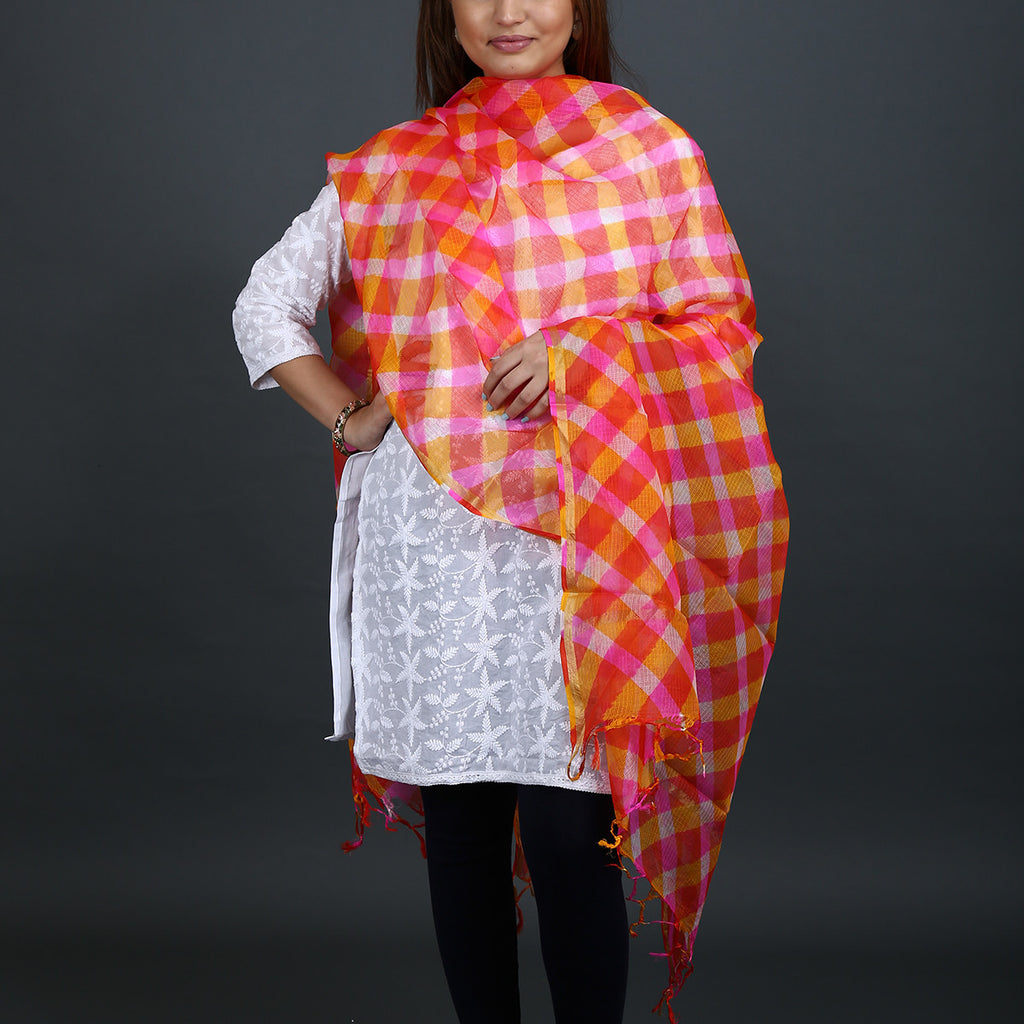 Pink and Orange Coloured Jaipur Leheriya Dupatta in Kota Silk with Mothra design