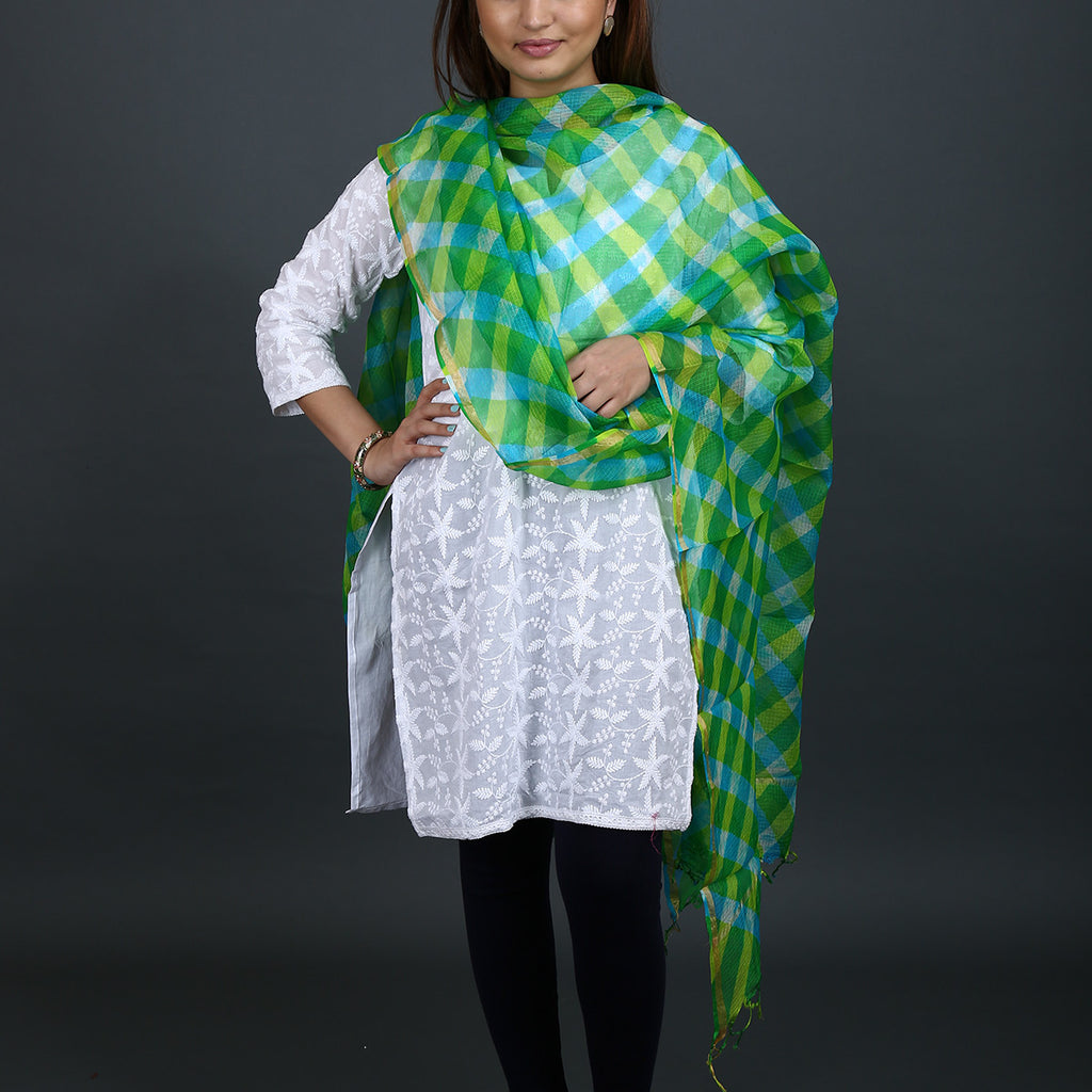 Green Coloured Jaipur Leheriya Dupatta in Kota Silk with Mothra design