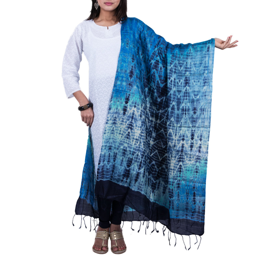 Blue Coloured Jaipur Tie & Dye Dupatta in Tassar Silk