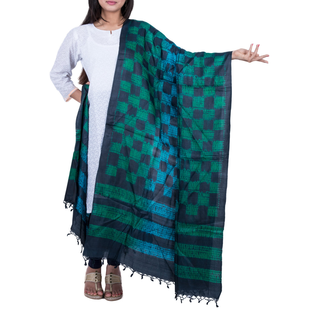 Kutch Tie & Dye Dupatta in Tussar Silk with Shibori technique