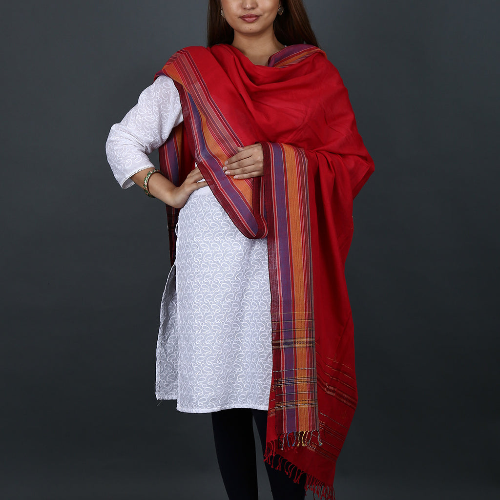 Red coloured Kutch Handloom Dupatta in cotton