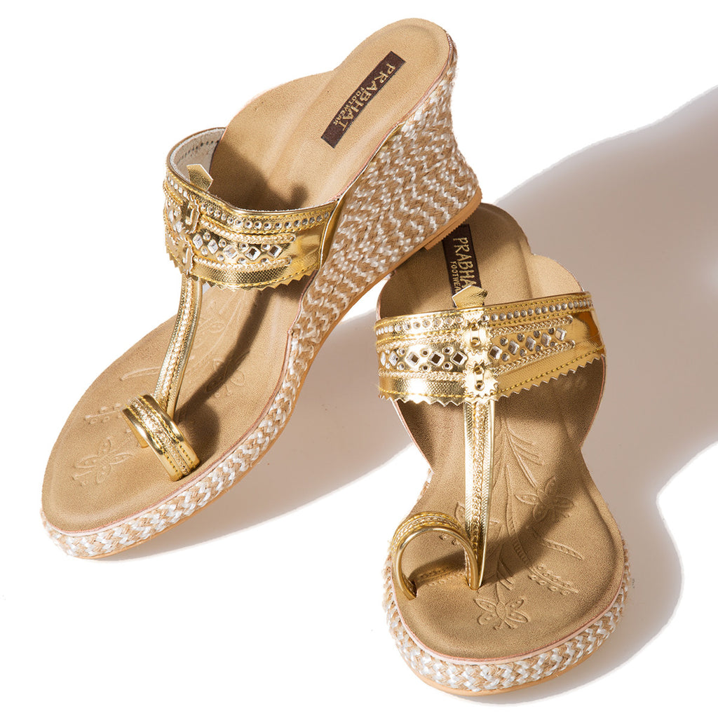 Metallic Golden Coloured Kolhapuri Chappals with Wedges in Leather