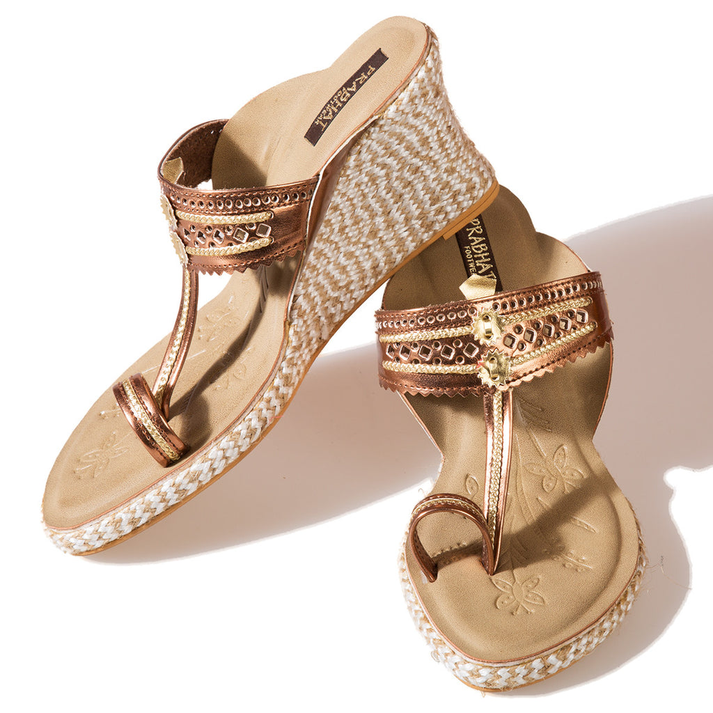Metallic Copper Coloured Kolhapuri Chappals with Wedges in Leather