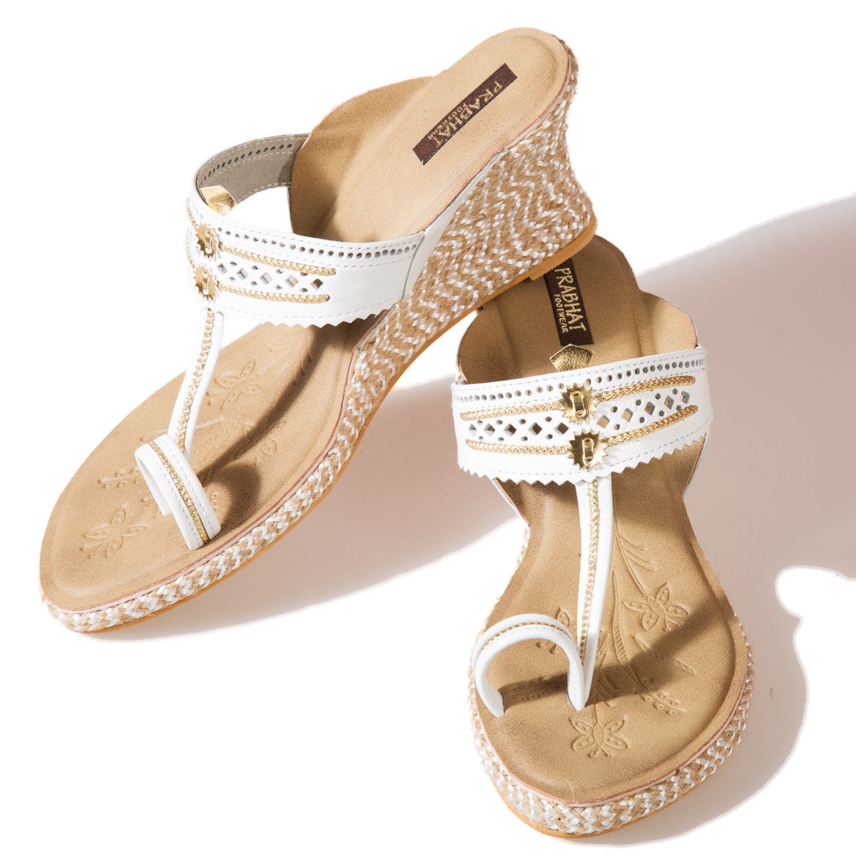 White Coloured Kolhapuri Chappals with Wedges in Leather