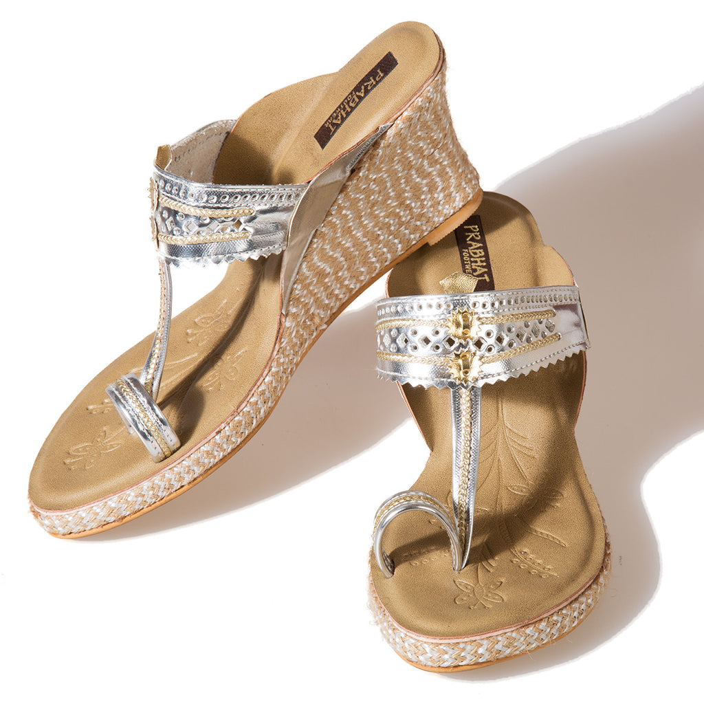 Metallic Silver Coloured Kolhapuri Chappals with Wedges in Leather