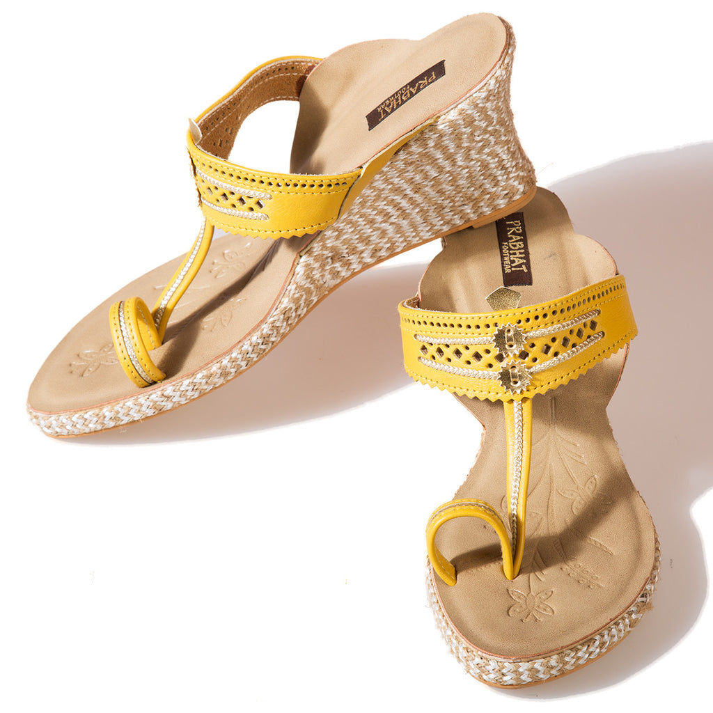 Yellow Coloured Kolhapuri Chappals with Wedges in Leather