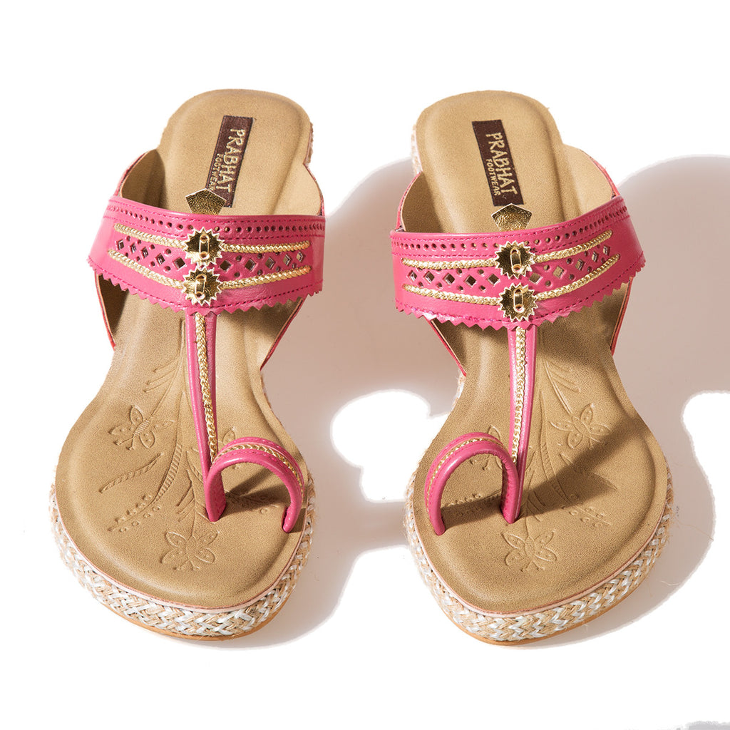 Pink Coloured Kolhapuri Chappals with Wedges in Leather