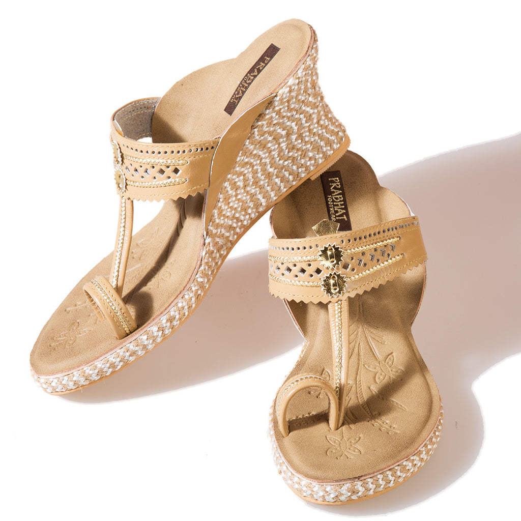 Natural Coloured Kolhapuri Chappals with Wedges in Leather