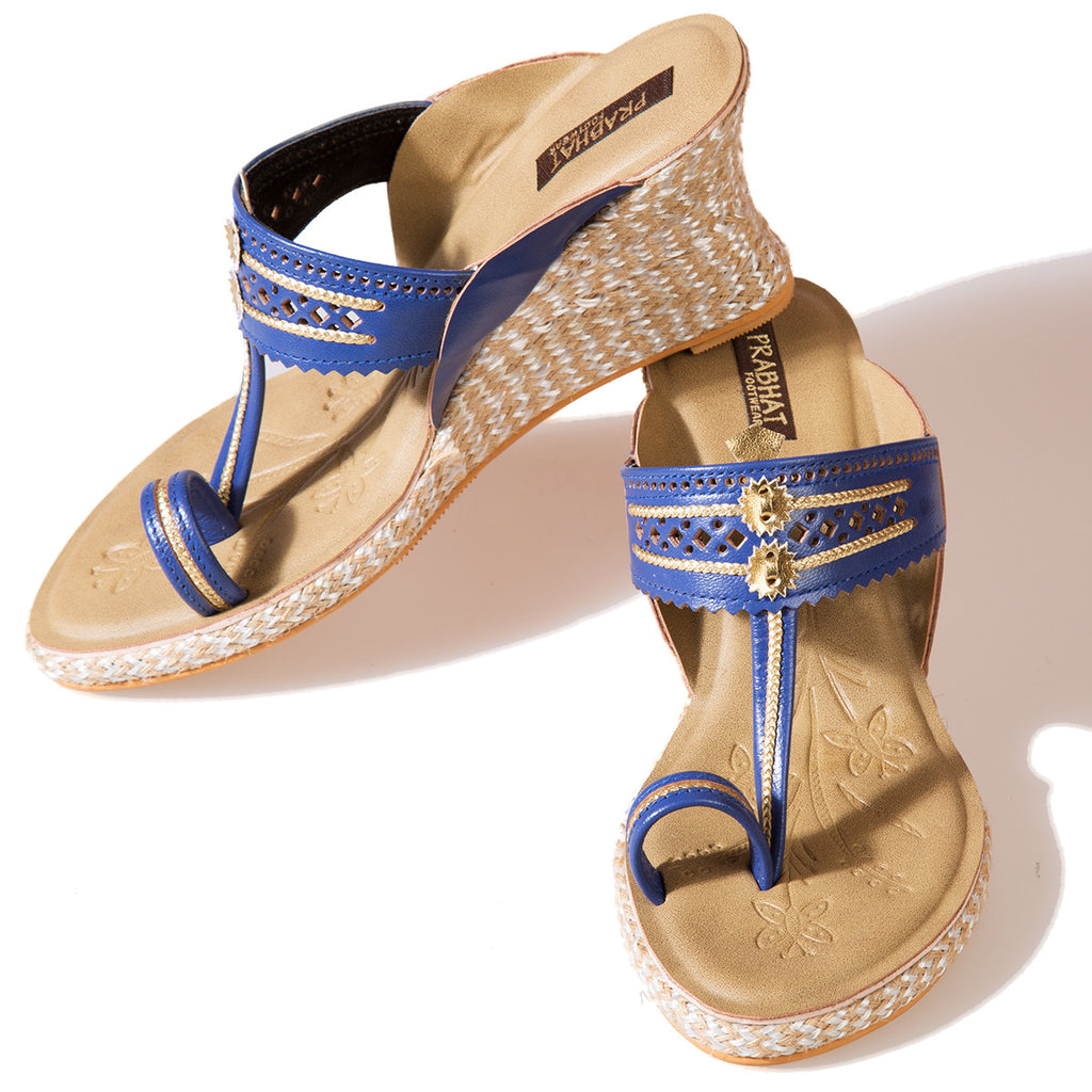 Blue Coloured Kolhapuri Chappals with Wedges in Leather