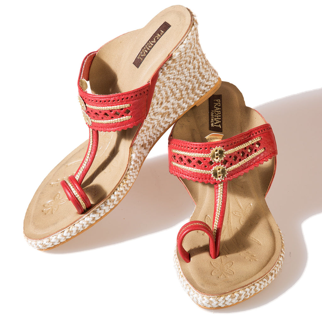 Red Coloured Kolhapuri Chappals with Wedges in Leather