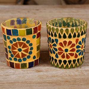 Yellow Coloured Ceramic Tea Light Glasses