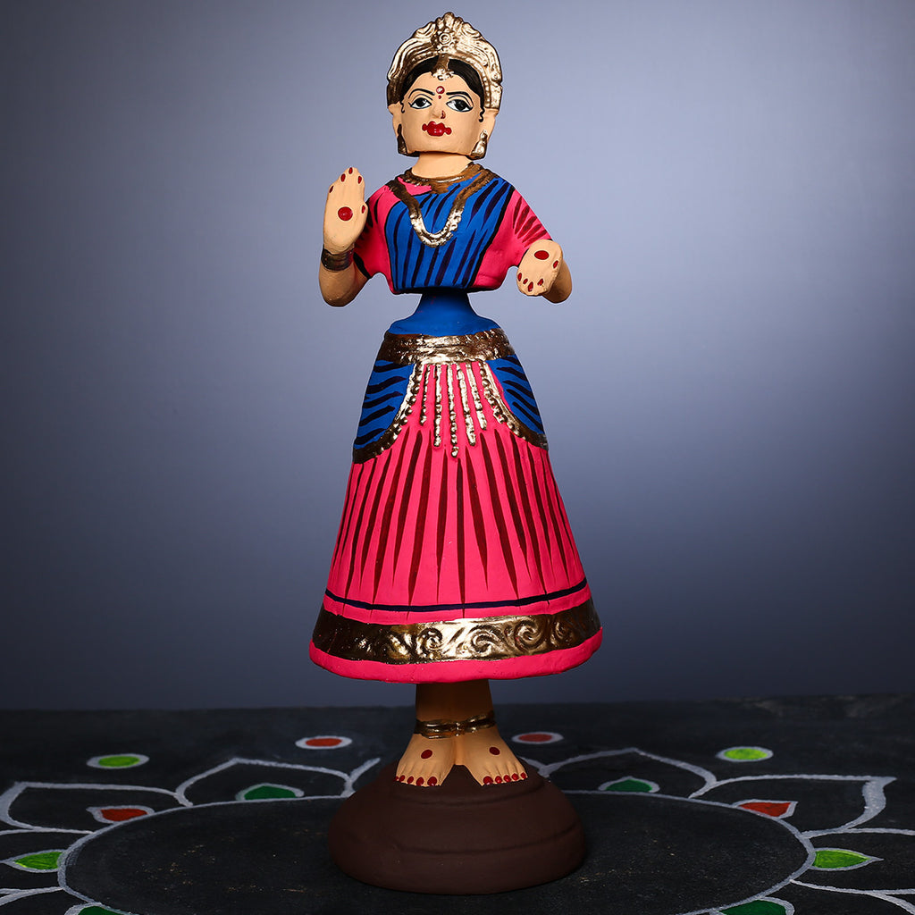 Pink coloured Tanjore Dancing Doll - Thalayatti Bommai