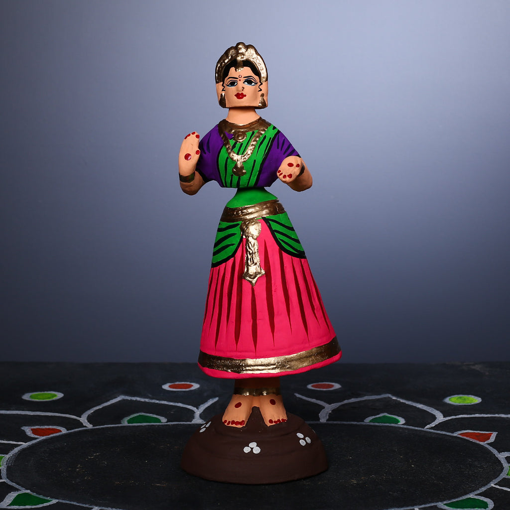 Small Pink coloured Tanjore Dancing Doll - Thalayatti Bommai