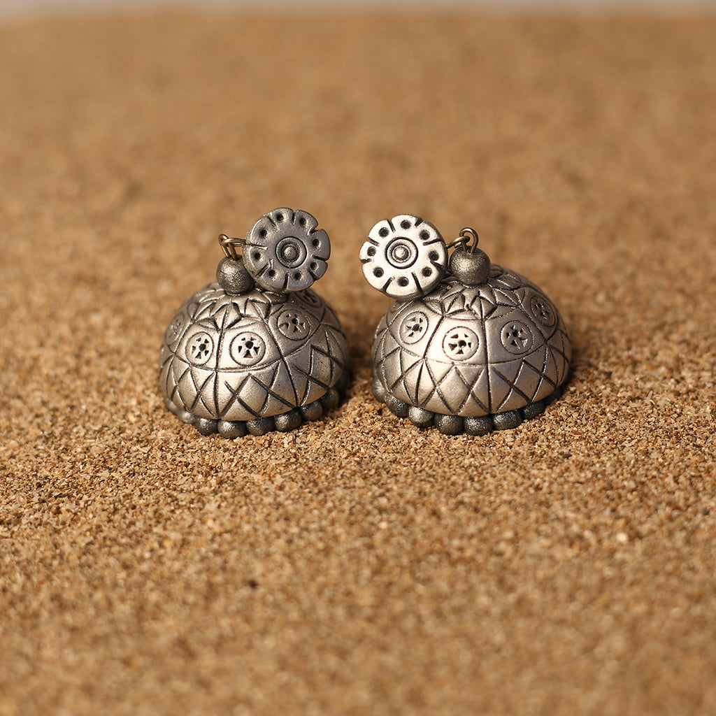 Patterned Silver Coloured Handcrafted Polymer Clay Earrings