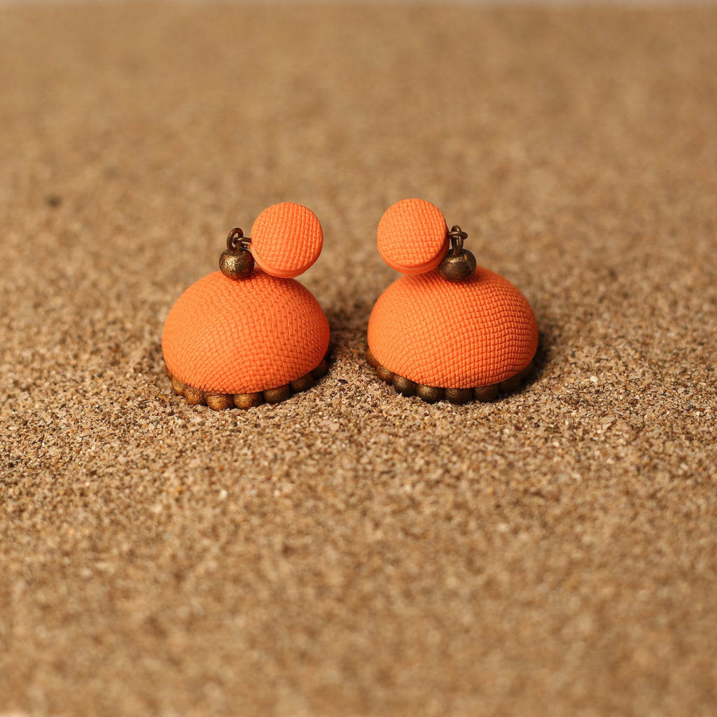 Orange and Golden Coloured Handcrafted Polymer Clay Earrings