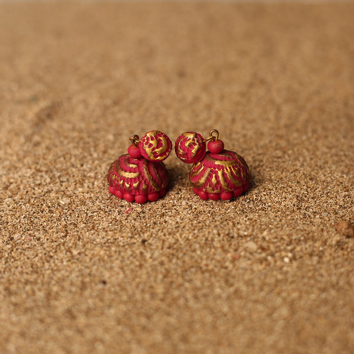 Pink and Golden Coloured Handcrafted Polymer Clay Earrings