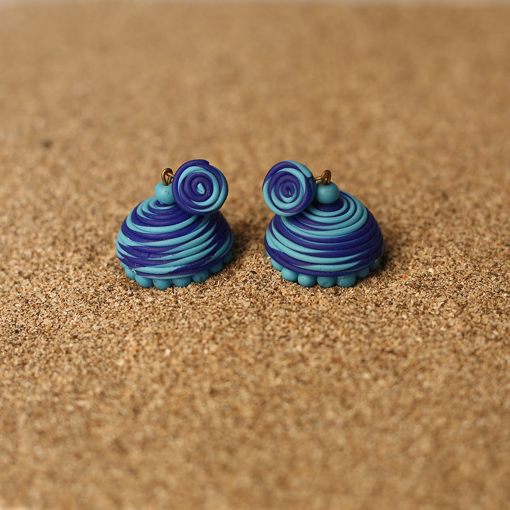 Dark Blue Coloured Handcrafted Polymer Clay Earrings