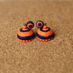 Orange and Blue Coloured Handcrafted Polymer Clay Earrings