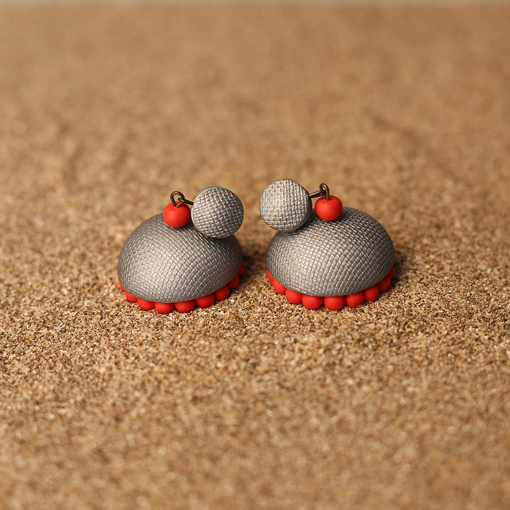 Gray and Red Coloured Handcrafted Polymer Clay Earrings