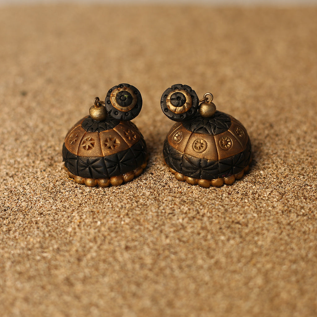 Black and Golden Coloured Handcrafted Polymer Clay Earrings with design