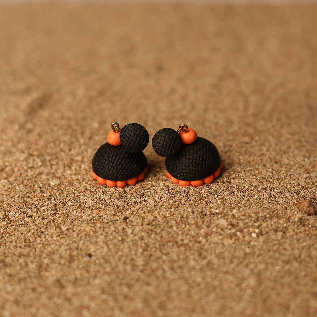 Black and Orange Coloured Handcrafted Polymer Clay Earrings