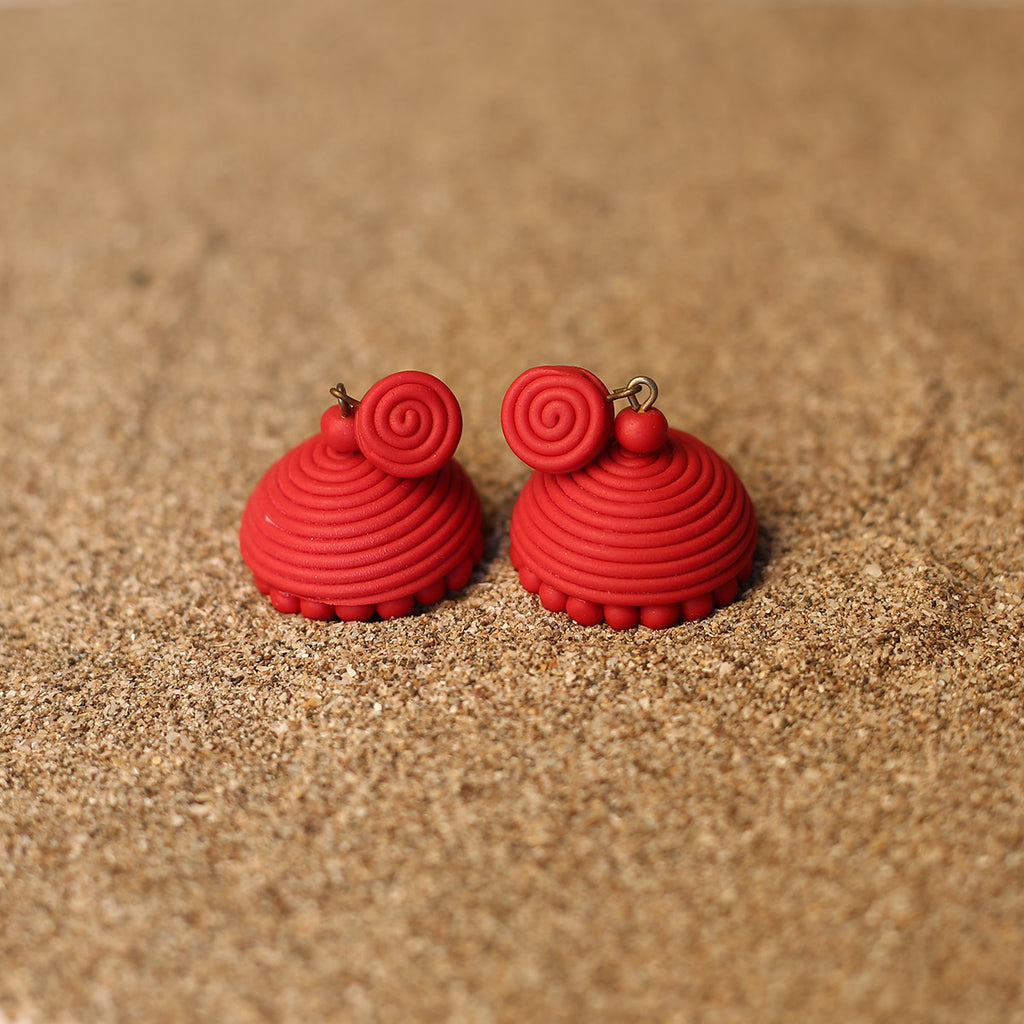 Red Coloured Handcrafted Polymer Clay Earrings with Spiral Design