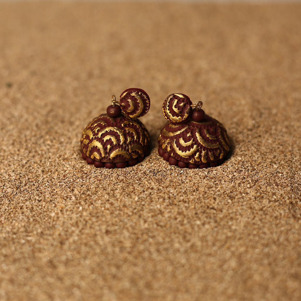 Brown and Golden Coloured Handcrafted Polymer Clay Earrings