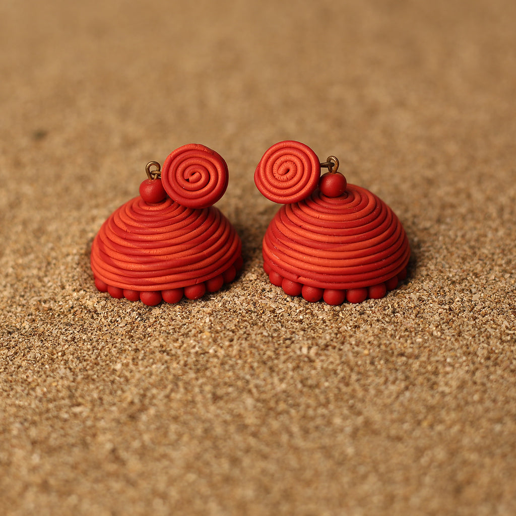 Dual toned Red Coloured Handcrafted Polymer Clay Earrings