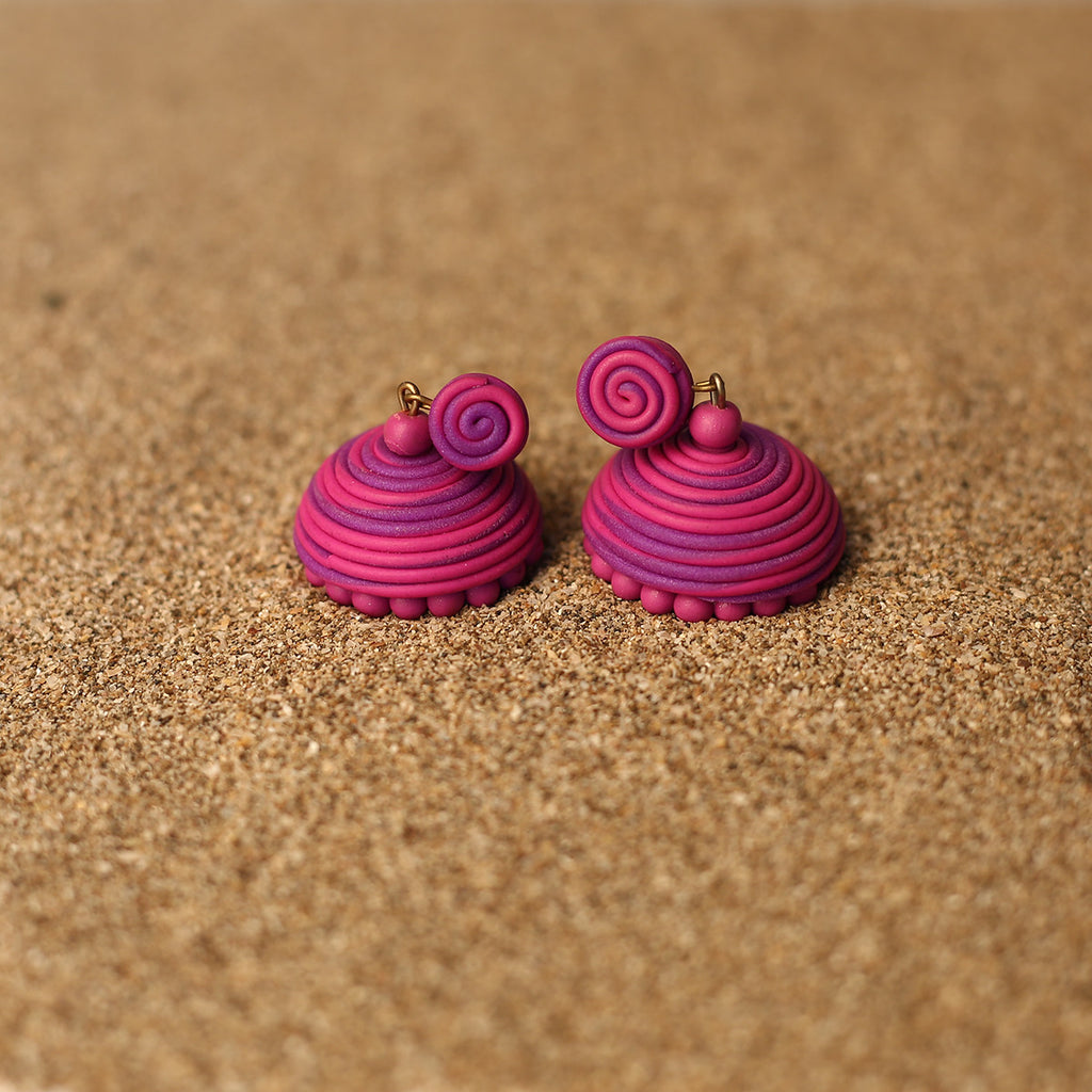 Purple and Pink Coloured Handcrafted Polymer Clay Earrings