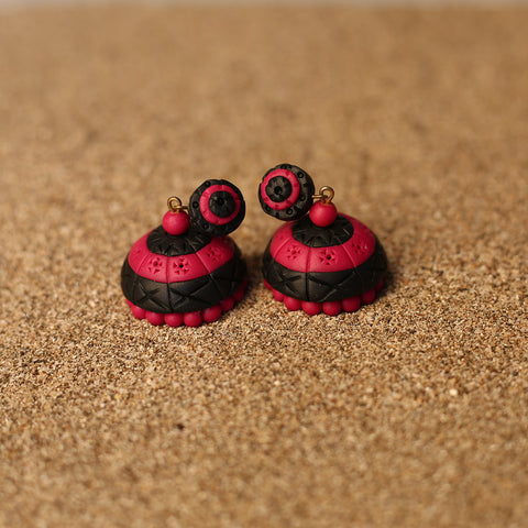 Pink and Black Coloured Handcrafted Polymer Clay Earrings