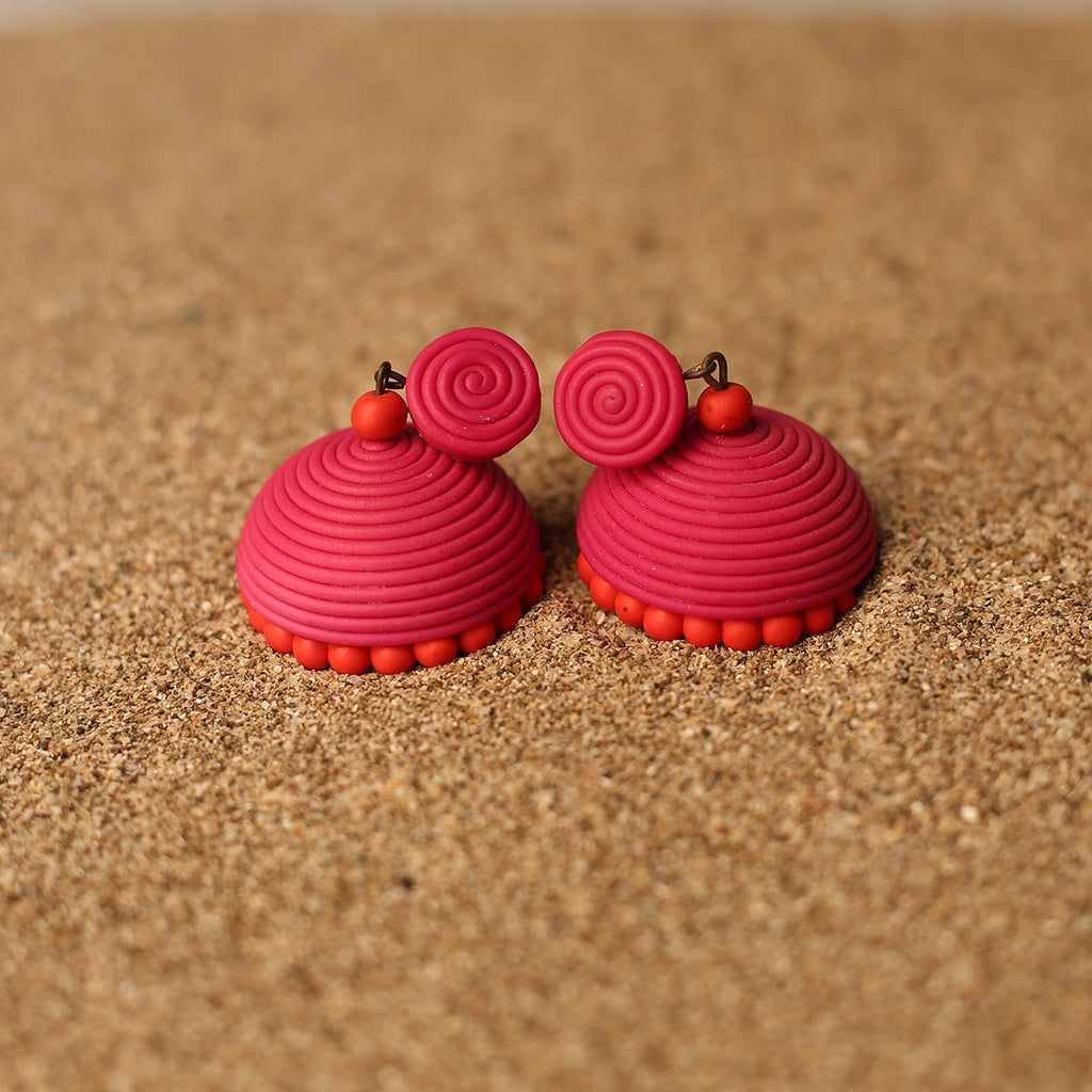 Pink and Red Coloured Handcrafted Polymer Clay Earrings