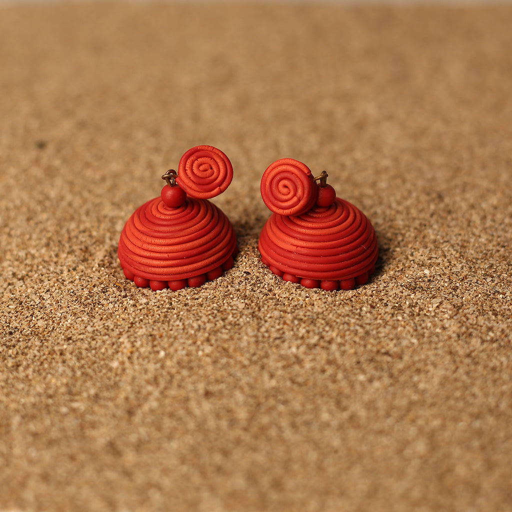 Dual toned Spiral Red Coloured Handcrafted Polymer Clay Earrings