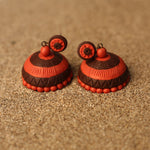 Red and Brown Coloured Handcrafted Polymer Clay Earrings