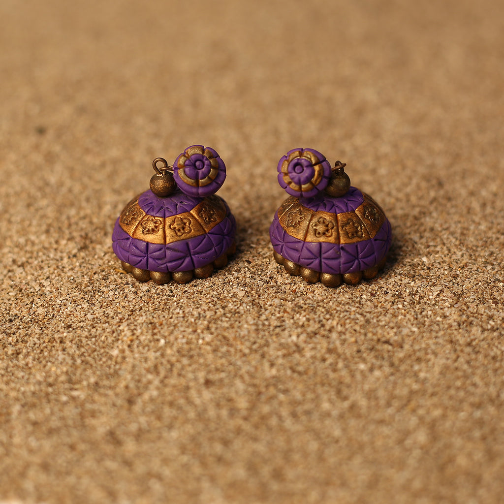 Purple and Golden Coloured Handcrafted Polymer Clay Earrings