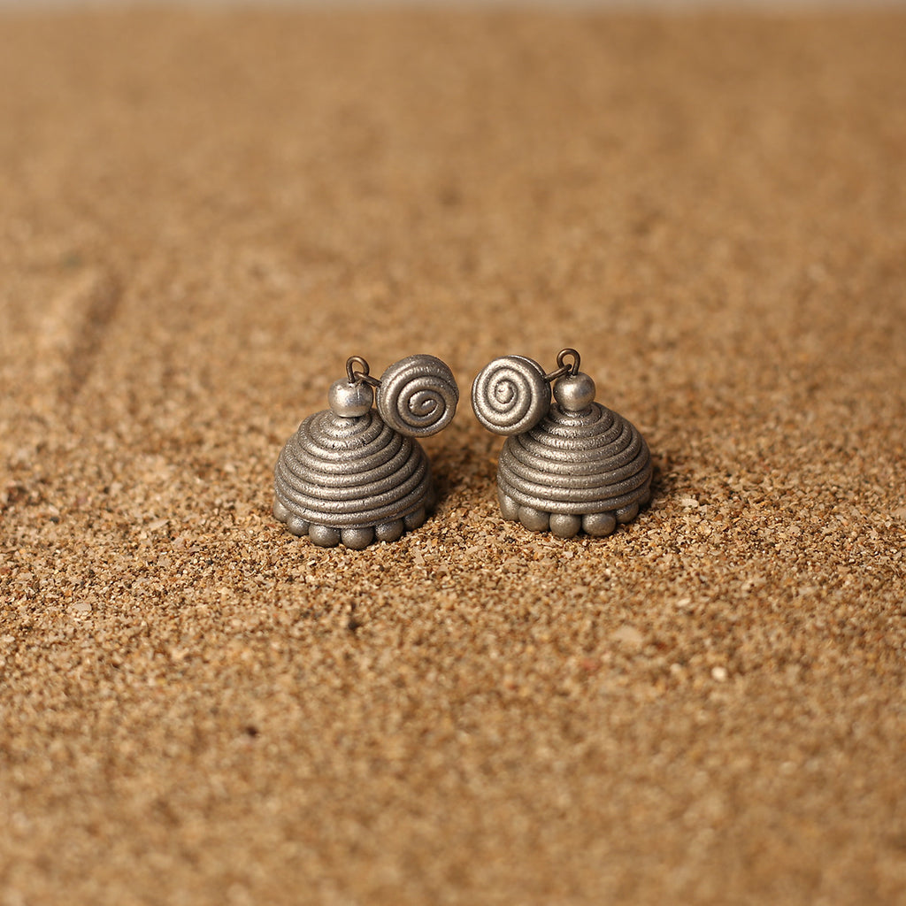 Silver Coloured Handcrafted Polymer Clay Earrings