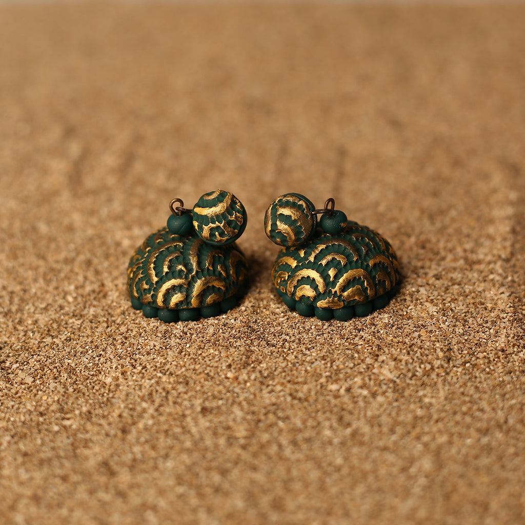 Green and Golden Coloured Handcrafted Polymer Clay Earrings with design