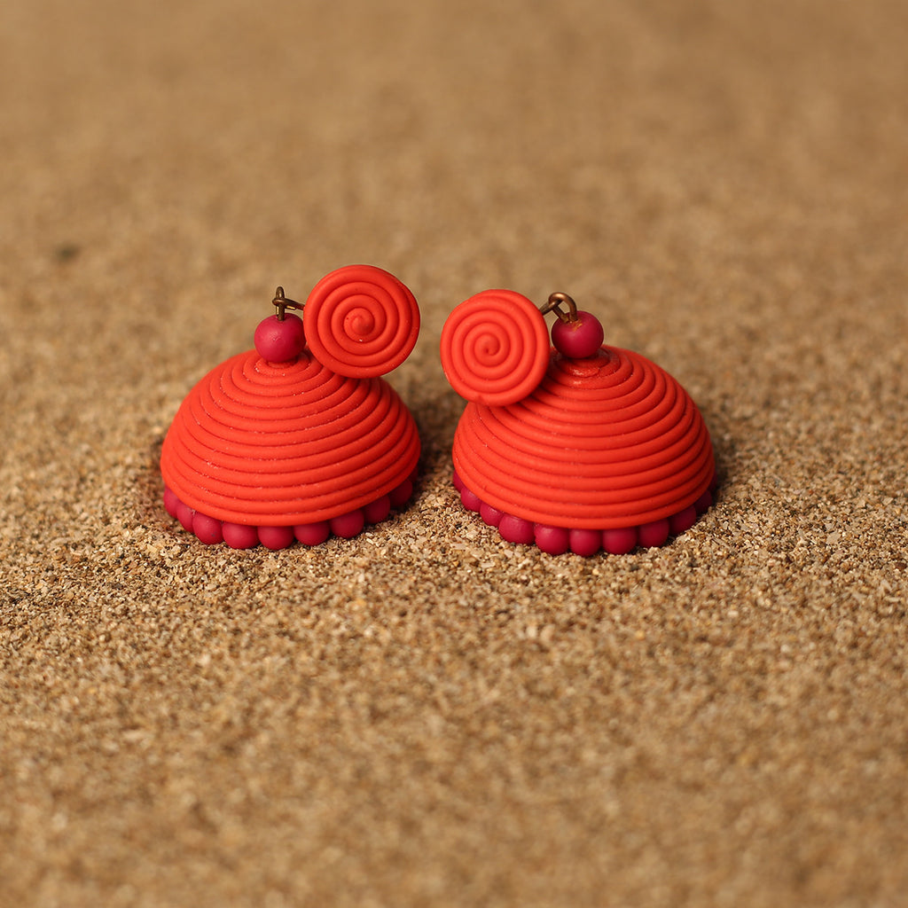 Red and Pink Coloured Handcrafted Polymer Clay Earrings
