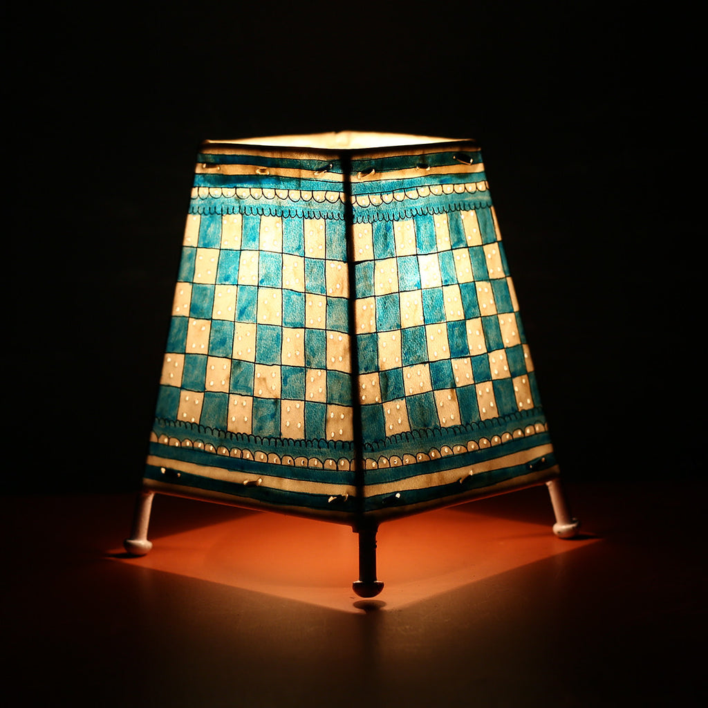 Andhra Pradesh Leather Lamp with Blue Checks Design