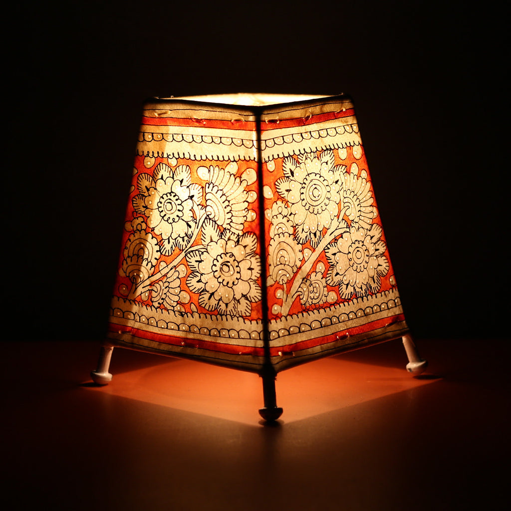 Andhra Pradesh Leather Lamp with Red Floral Design
