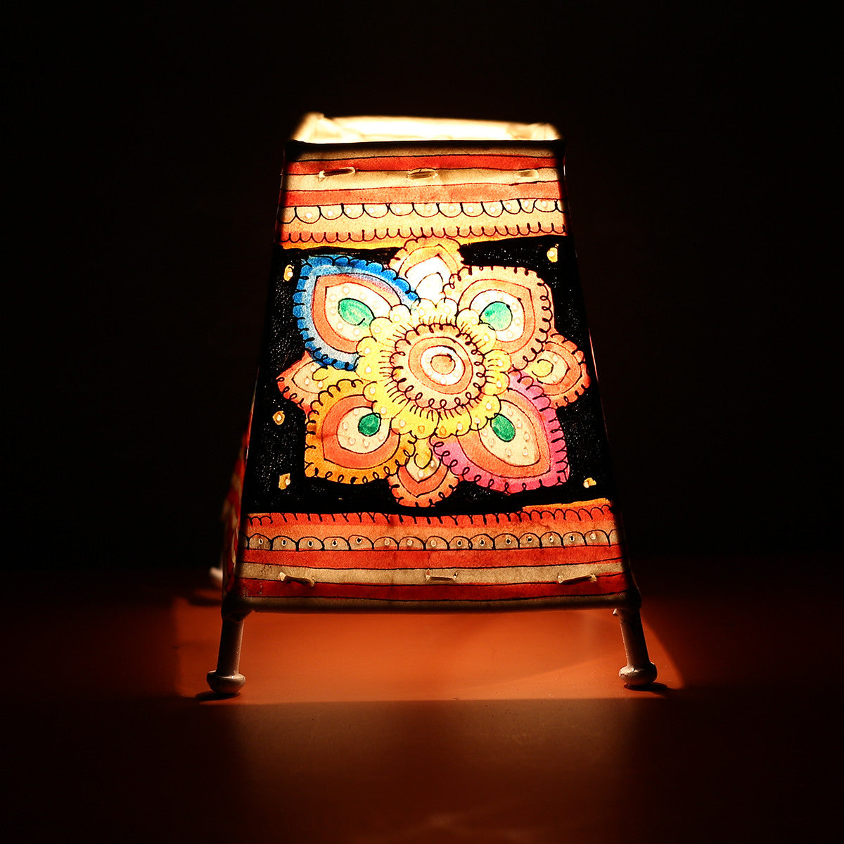 Andhra Pradesh Leather Lamp with Black Flower Design