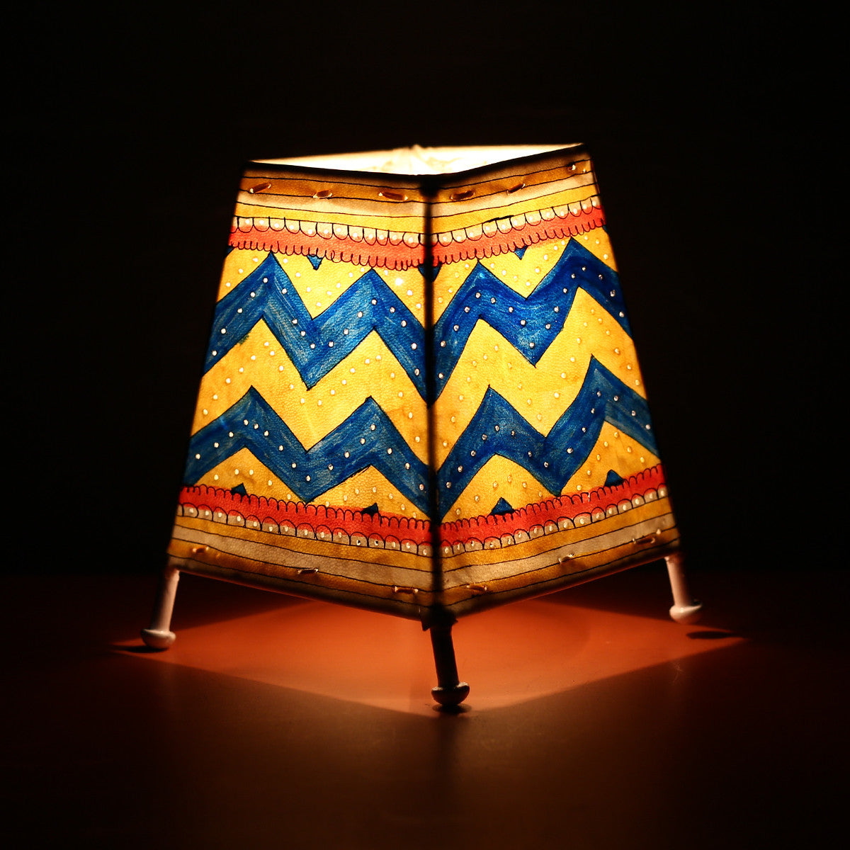 Andhra Pradesh Leather Lamp with Yellow Blue Geometric Design