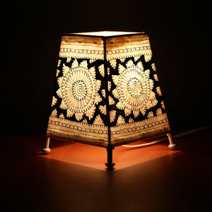 Andhra Pradesh Leather Lamp with Black Flower Design 1