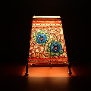 Andhra Pradesh Leather Lamp with Multi Coloured Floral Design