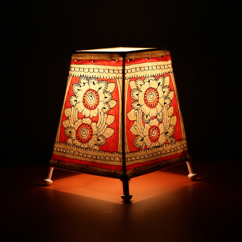 Andhra Pradesh Leather Lamp with Red Floral Design 1